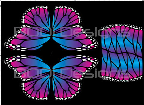 Spandex Glitter Butterfly Wings Pink/Blue Regular
