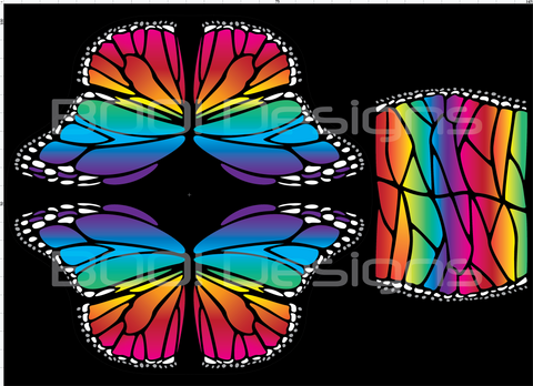 Spandex Glitter Butterfly Wings Rainbow Regular