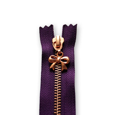 18cm Zip Copper Bow Deep Purple 865