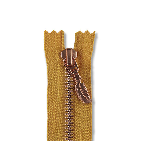 18cm Zip Copper Feather Mustard 846