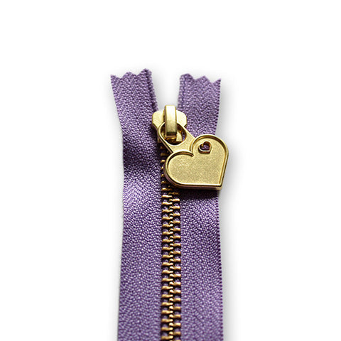 18cm Zip Gold Heart Amethyst 862