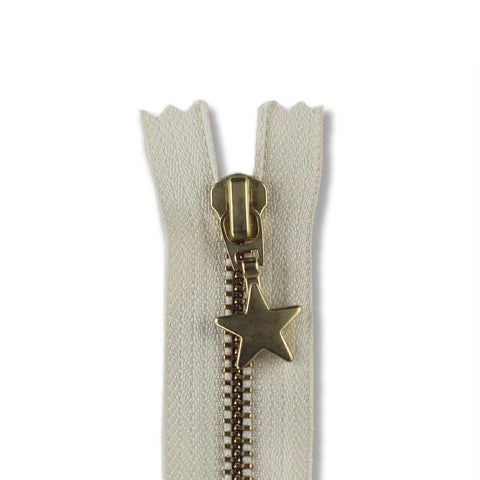 28cm Zip Gold Star Cream 121