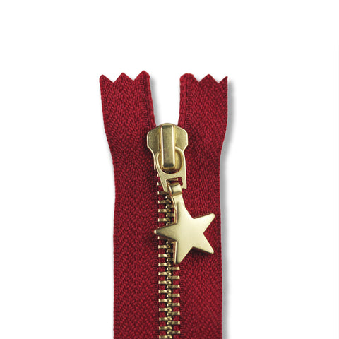 28cm Zip Gold Star Red 519