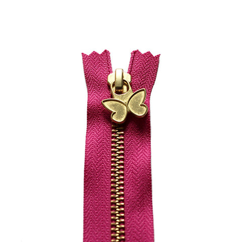 18cm Zip Gold Butterfly Magenta 312