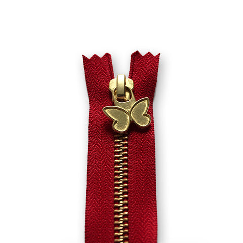 18cm Zip Gold Butterfly Red 519