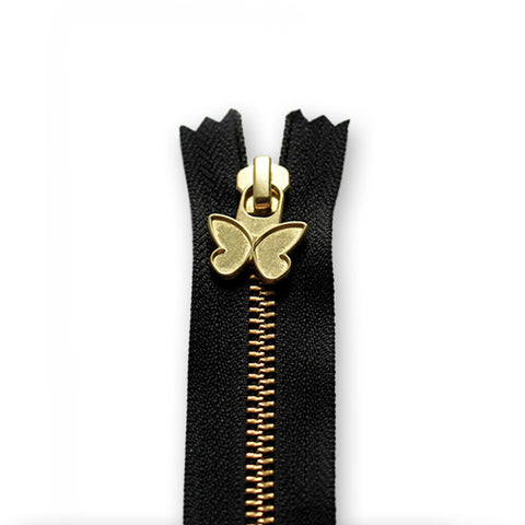 18cm Zip Gold Butterfly Black 580