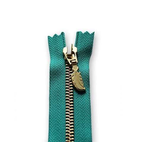 18cm Zip Gold Feather Turquoise 018