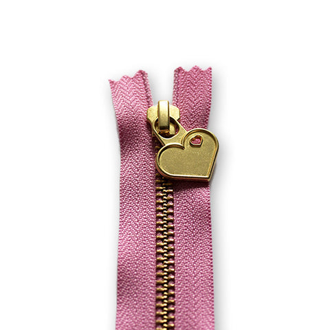 18cm Zip Gold Heart Cupid Pink 042