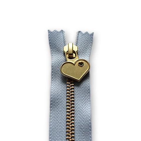 18cm Zip Gold Heart Sky Blue 259