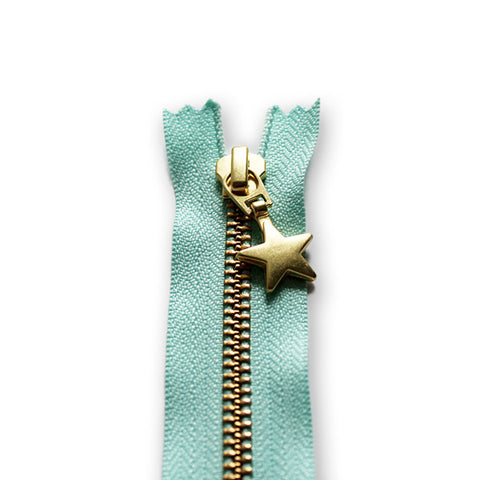 18cm Zip Gold Star Arctic Blue 142