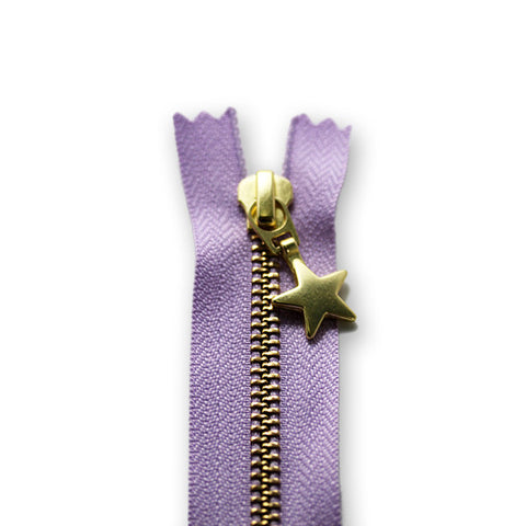 18cm Zip Gold Star Lilac 068
