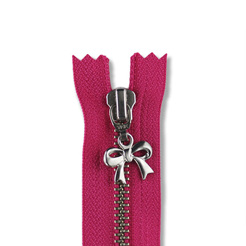 18cm Zip Silver Bow Hot Pink 516