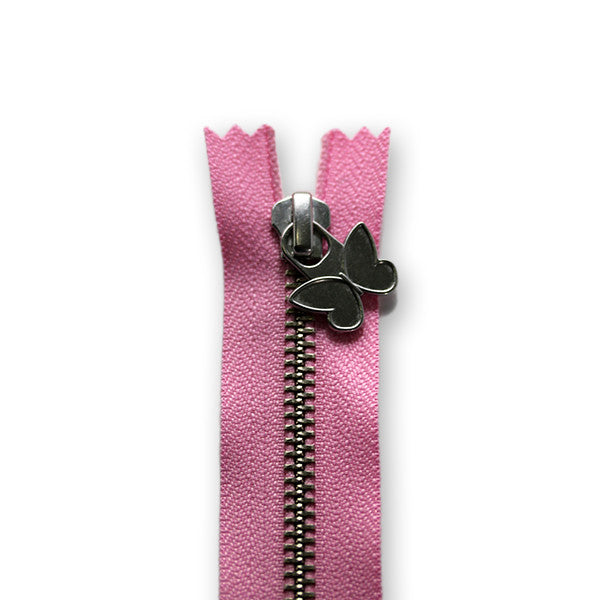 18cm Zip Silver Butterfly Light Pink 513