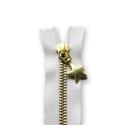 18cm Zip Gold Star White 501