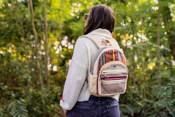 SO FLO KEROSENE - Small Mini Hemp Boho Backpack - Made in The Himalayas