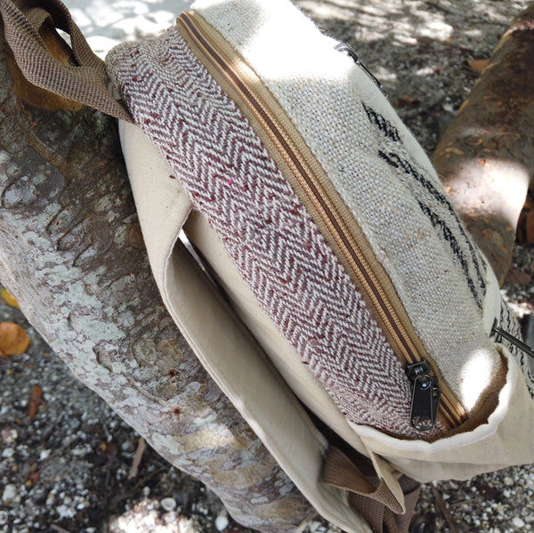 WHITE BUFFALO - Small Mini Hemp Boho Backpack - Made in The Himalayas - B&W