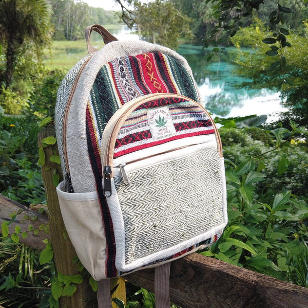 EMERALD CITY KUSH - Small Mini Hemp Boho Backpack - Made in The Himalayas