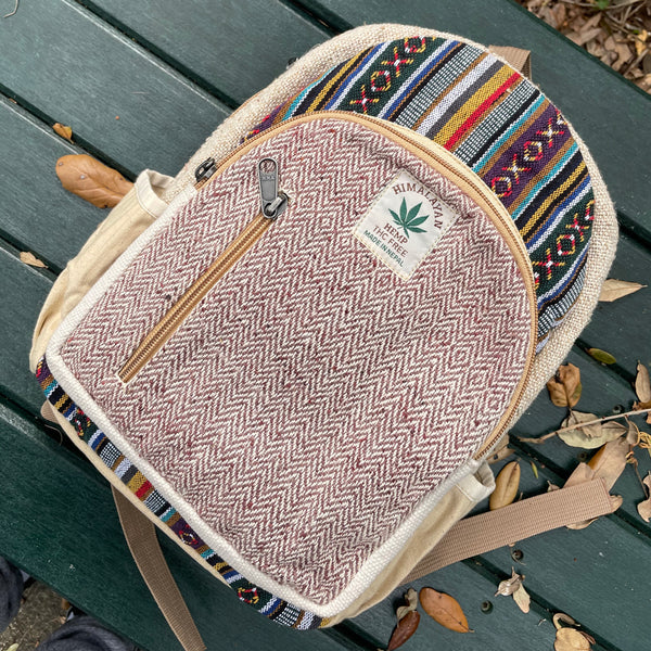 JILLY BEAN - Small Mini Hemp Boho Backpack - Made in The Himalayas