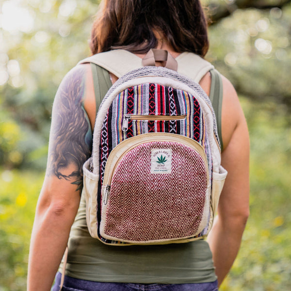 STRAWBERRY HAZE - Small Mini Hemp Boho Backpack - Made in The Himalayas
