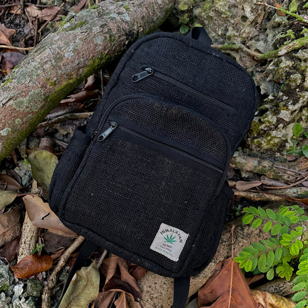 BLACK TUNA - Black - Small Mini Hemp Boho Backpack - Made in The Himalayas