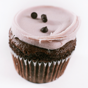Vegan brownie cupcake with chocolate frosting