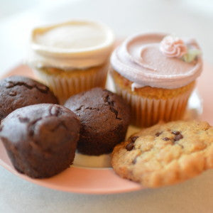 Assorted vegan brownies, cupcakes, and cookies
