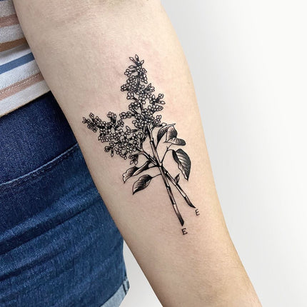 Fine Line Flower Tattoo - Deanna Lee
