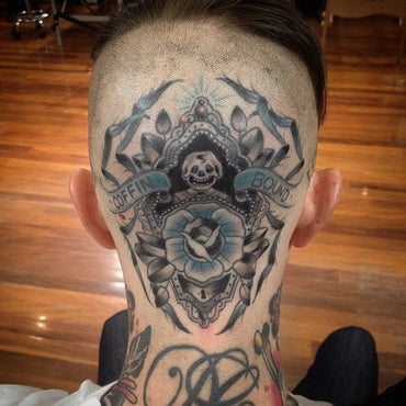 Coffin Bound Head Tattoo