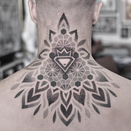 Dotwork Neck Tattoo