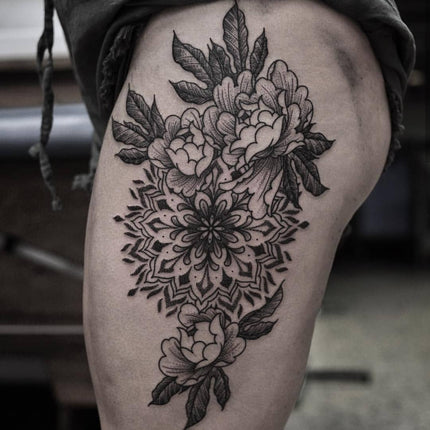 Mandala and Peonies by Chris Jones