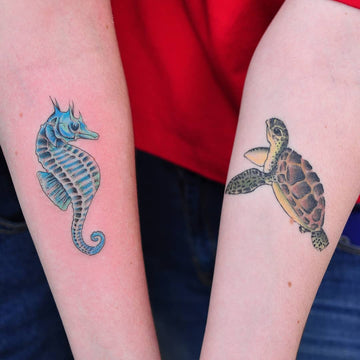 Turtle And Seahorse Tattoo