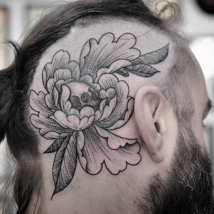 2e52156d21464 Always a bold step when moving towards getting a tattoo on your head. You  will be in safe hands under the guidance of Chris Jones. This peony tattoo  is a ...