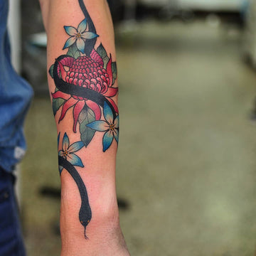 Red Waratah Tattoo by Wade Johnston