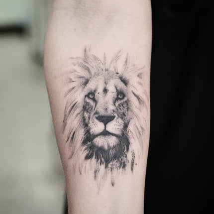 Fine Line Lion Portrait Tattoo By Wade Johnston