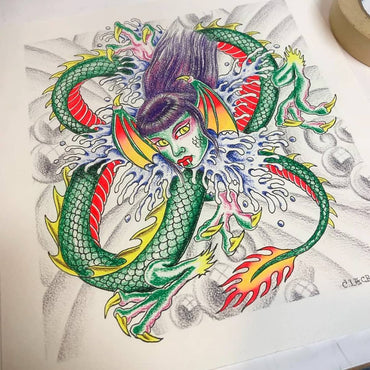 Charlie Lacroix - Serpent Tattoo Flash