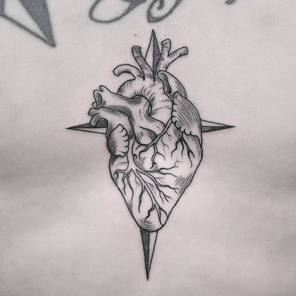 Etching Style Heart Tattoo - Wade Johnston