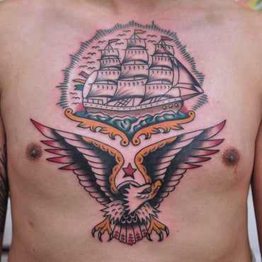 Ship and Eagle Tattoo By Lachie Grenfell