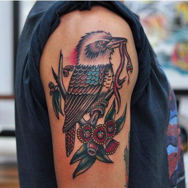 Kookaburra and Flowering Gum Tattoo By Mark Lording