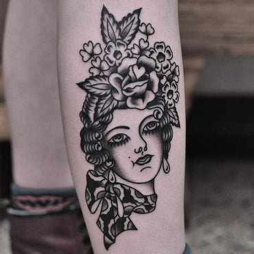 Traditional Flower Head Tattoo By Lachie Grefell
