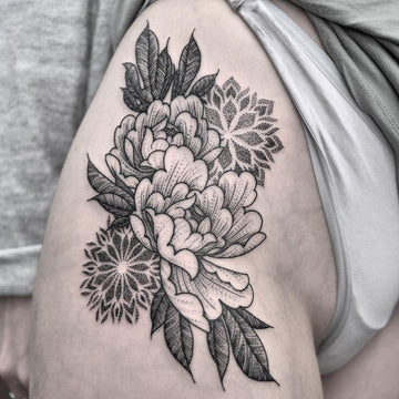 Large Thigh Tattoo of Peonies and Mandalas By Chris Jones