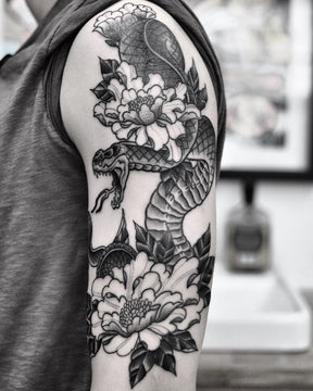 Snake and Peonies Tattoo by Pablo Morte