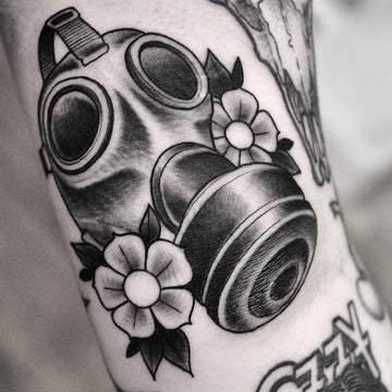 Black and Grey Gas Mask Tattoo By Pablo Morte
