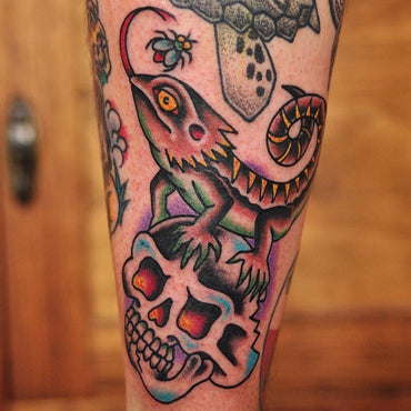 Lizard Skull Gap Filler Tattoo By Mark Lording