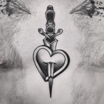 Heart and Dagger Chest Tattoo By Wade Johnston