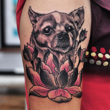 Pet Portrait Tattoo of chihuahua By Pablo Morte