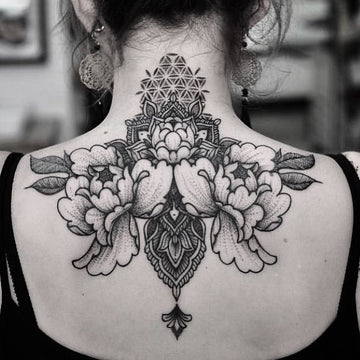 Ornamental Dotwork Upper Back Tattoo by Chris Jones