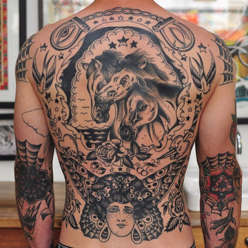 Traditional Blackwork Back Piece Tattoo - Lachie Grenfell