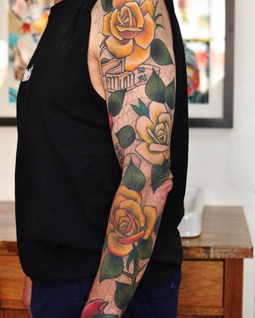 Sleeve Tattoo of Roses - Pablo Morte