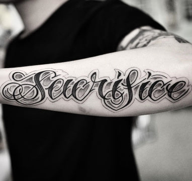 Script Tattoo Across the Forearm By Pablo Morte