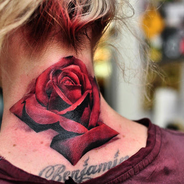 Colour Rose Tattoo on Customers Neck By Wade Johnston
